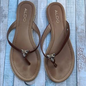 Aldo   Brown Leather Slippers. Size 6